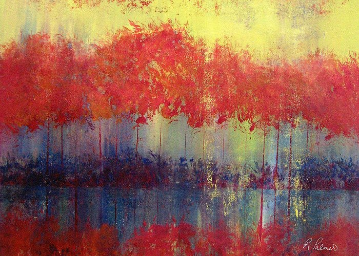 Abstract Greeting Card featuring the painting Autumn Bleed by Ruth Palmer