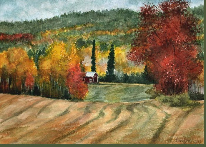 Autumn Greeting Card featuring the painting Autumn Blush by Mona Davis