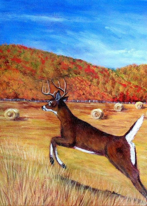Deer Greeting Card featuring the painting Autumn Bounding by Tami Booher
