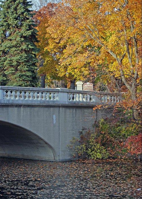 Bridge Greeting Card featuring the photograph Autumn Bridge by Lisa Gabrius