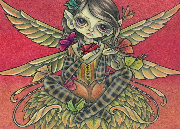 Fall Greeting Card featuring the drawing Autumn Butterflies by Tanya Ross