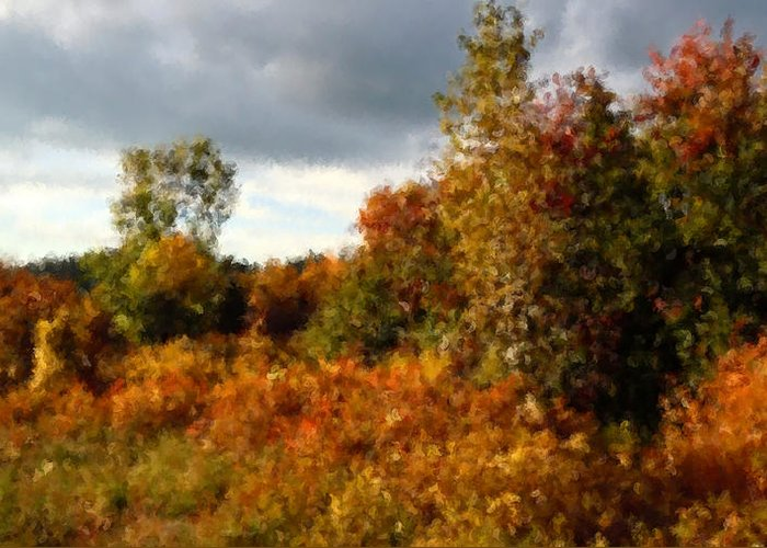 As The Clouds Broke Autumn Had Thrown A Bolt Of Fiery Calico Over The Treeline And Rose Brambles� Greeting Card featuring the photograph Autumn Calico Along The Arroyo El Valle New Mexico by Anastasia Savage Ealy