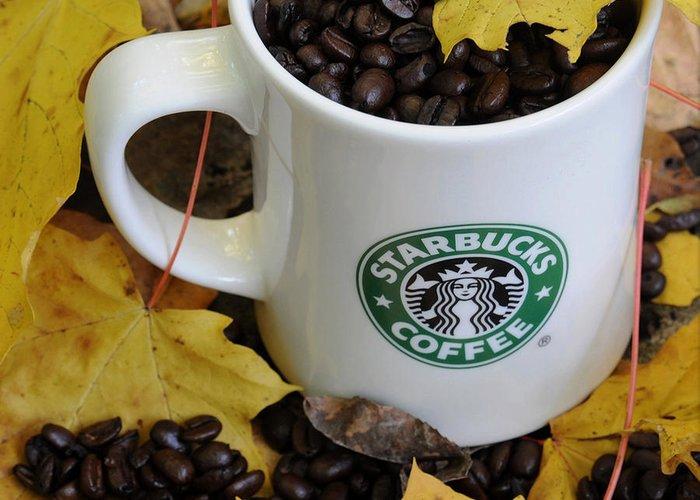 Starbucks Greeting Card featuring the photograph Autumn Coffee by Jon Benson