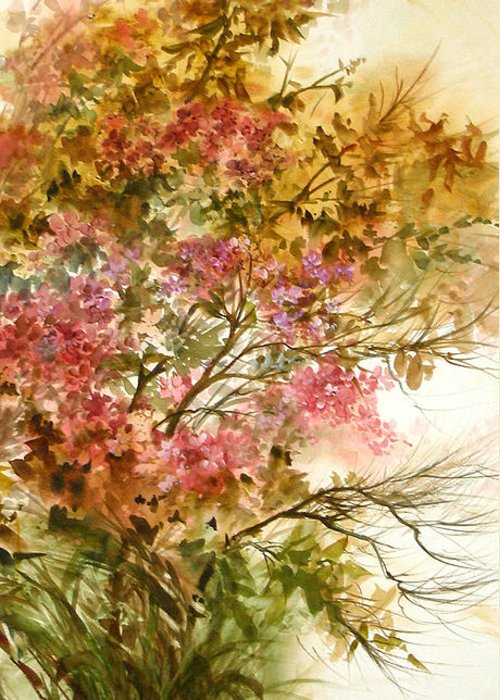 Leaves;blossoms;branches;autumn;pinks;floral; Greeting Card featuring the painting Autumn Colors And Twigs by Lois Mountz