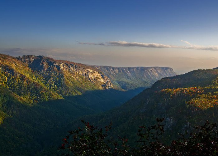 Landscape Greeting Card featuring the photograph Autumn Colors Linville Falls Gorge IIi by Michael Whitaker