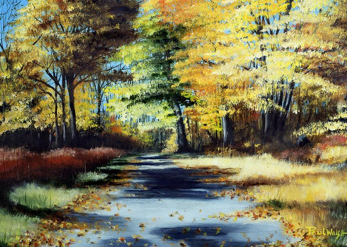 Landscape Greeting Card featuring the painting Autumn Colors by Paul Walsh