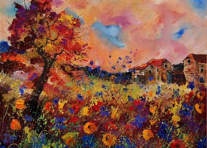Poppies Greeting Card featuring the painting Autumn Colors by Pol Ledent
