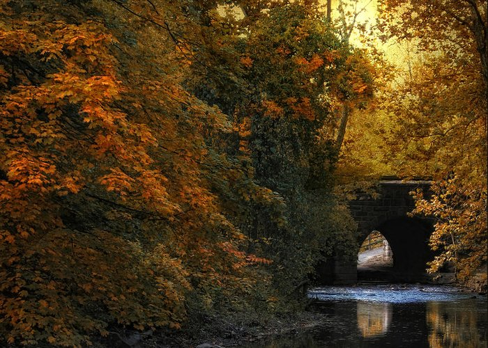Autumn Greeting Card featuring the photograph Autumn Country Bridge by Jessica Jenney