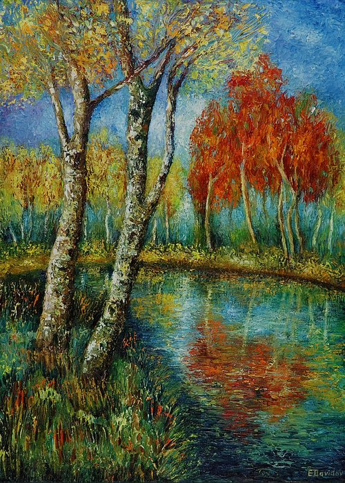 Landscape Greeting Card featuring the painting Autumn Day. by Evgenia Davidov