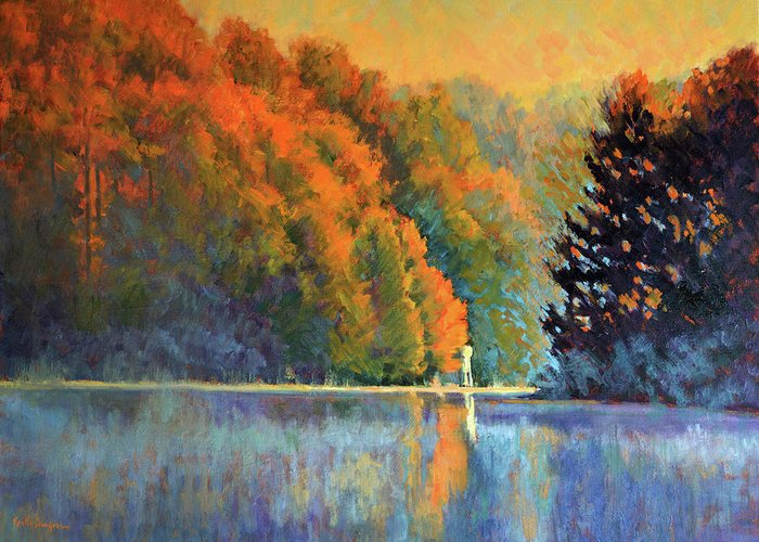 Impressionism Greeting Card featuring the painting Autumn Day Rising by Keith Burgess
