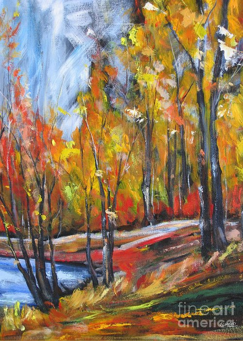 Fall Greeting Card featuring the painting Autumn by Debora Cardaci