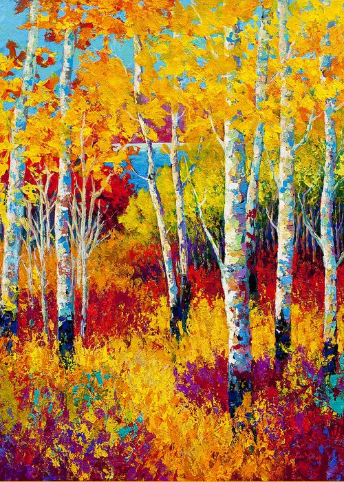 Trees Greeting Card featuring the painting Autumn Dreams by Marion Rose