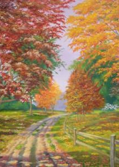 Fall Scene Greeting Card featuring the painting Autumn Drive by Tan Nguyen