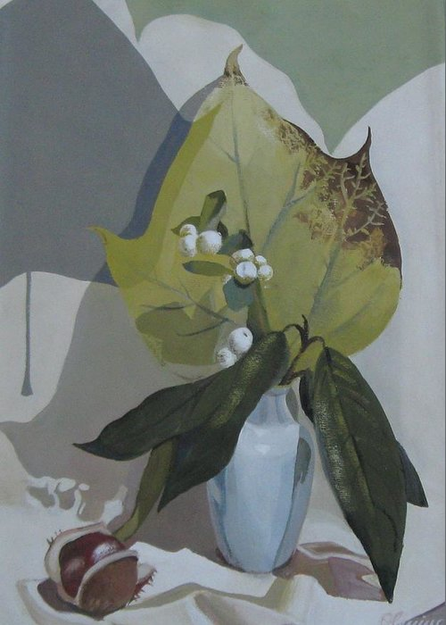 Still Life Greeting Card featuring the painting Autumn by Elena Oleniuc