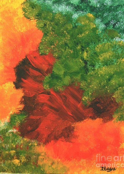 Abstract Greeting Card featuring the painting Autumn Equinox by Itaya Lightbourne