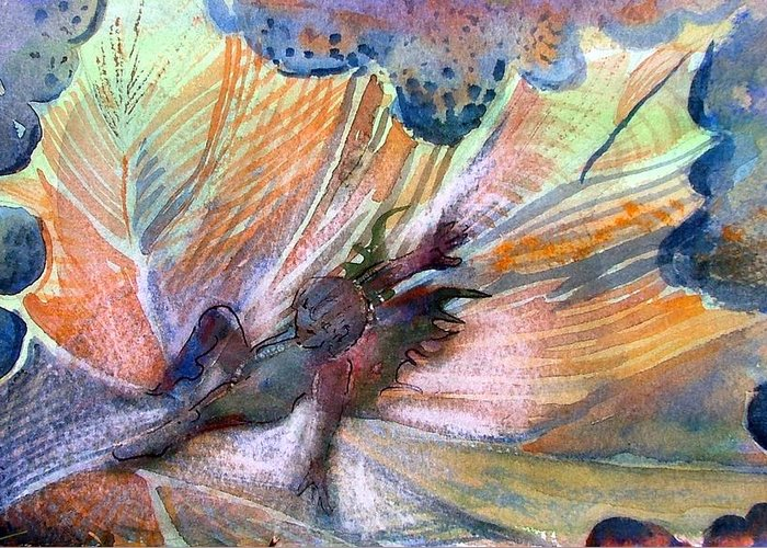 Fairy Greeting Card featuring the painting Autumn Fairy by Mindy Newman