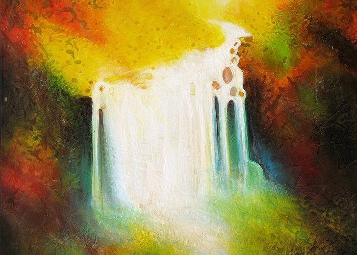 Waterfalls Greeting Card featuring the painting Autumn Falls by Jaison Cianelli