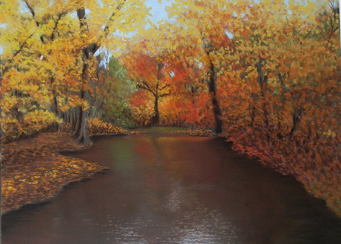 Landscape Greeting Card featuring the painting Autumn Fire by Susan Jenkins