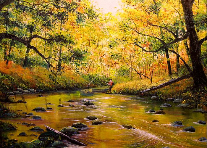 Connie Tom Greeting Card featuring the painting Autumn Fishing by Connie Tom