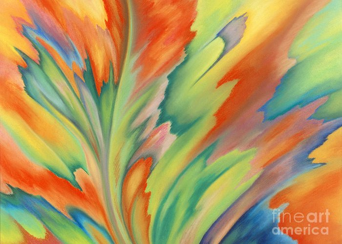Abstract Greeting Card featuring the painting Autumn Flame by Lucy Arnold