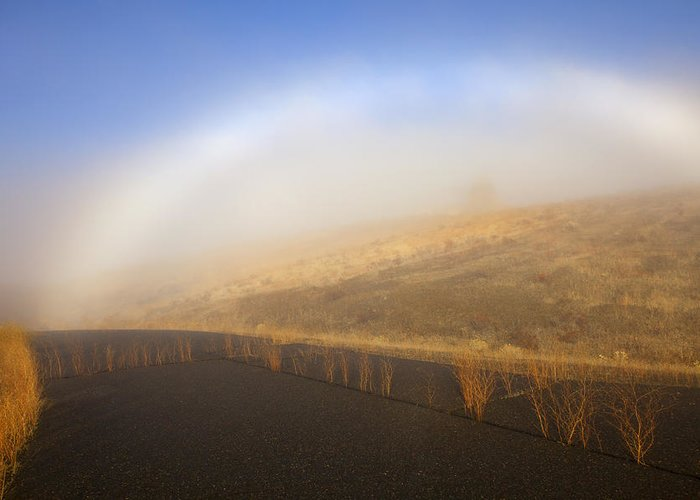 Fog Bow Greeting Card featuring the photograph Autumn Fog Bow by Mike Dawson