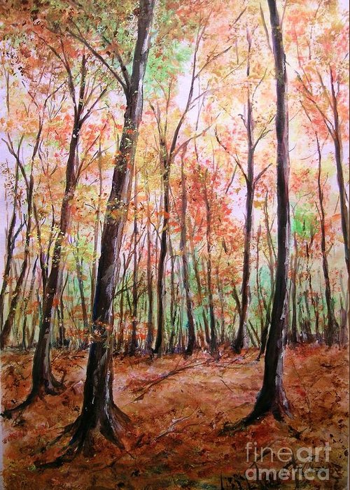 Landscape Greeting Card featuring the painting Autumn Forrest by Lizzy Forrester