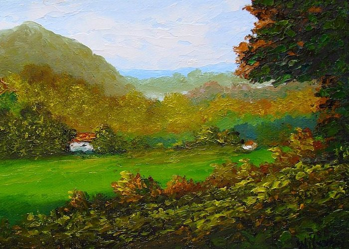 Landscape Greeting Card featuring the painting Autumn by Fred Wilson