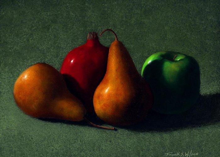 Still Life Greeting Card featuring the painting Autumn Fruit by Frank Wilson