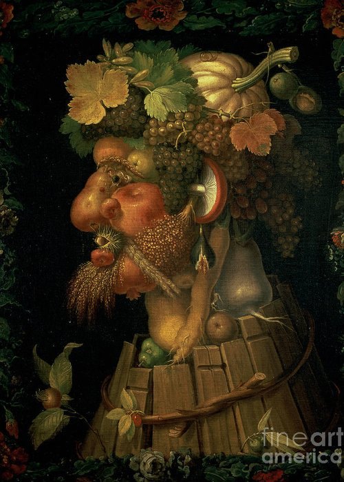 Autumn Greeting Card featuring the painting Autumn by Giuseppe Arcimboldo