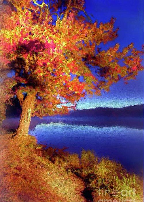 Autumn Greeting Card featuring the digital art Autumn Glow Before Sunrise In The Blue Ridge Ap by Dan Carmichael