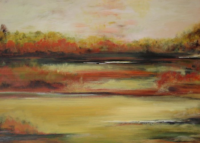 Landscape Greeting Card featuring the painting Autumn Glow by Marcia Crispino