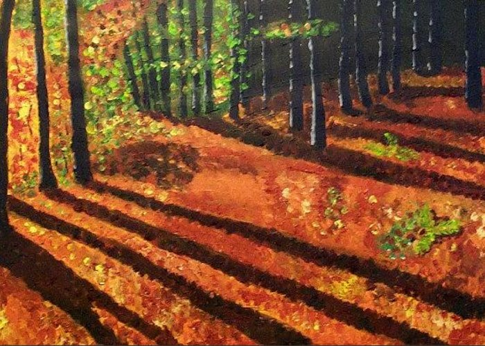 Landscape Greeting Card featuring the painting Autumn Glow by Mats Eriksson