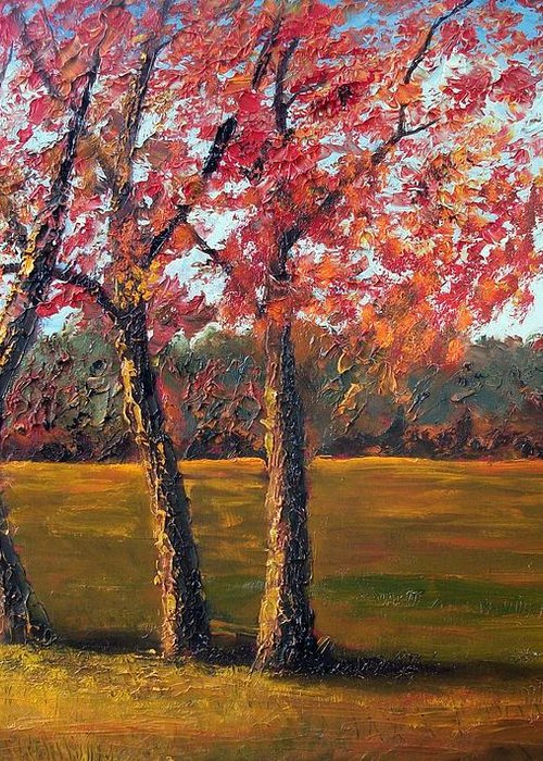 Landscape Greeting Card featuring the painting Autumn Glow by Tami Booher