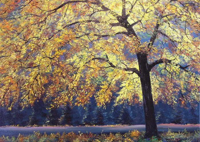 Connie Tom Greeting Card featuring the painting Autumn Gold by Connie Tom