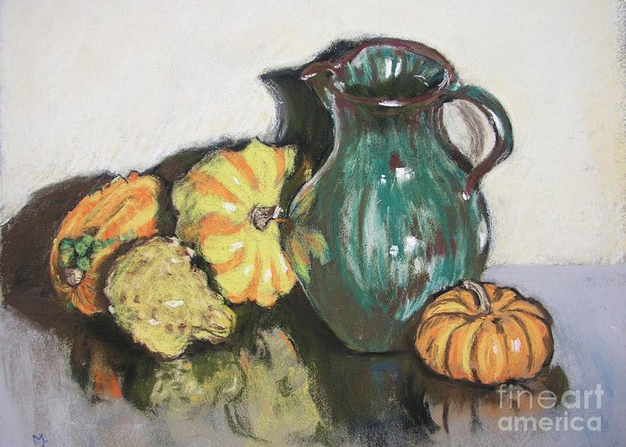 Still Life Greeting Card featuring the pastel Autumn Gourds by Mary Capriole