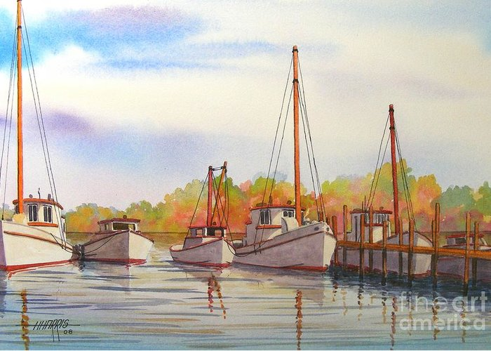 Autumn Greeting Card featuring the painting Autumn Harbor by Hugh Harris