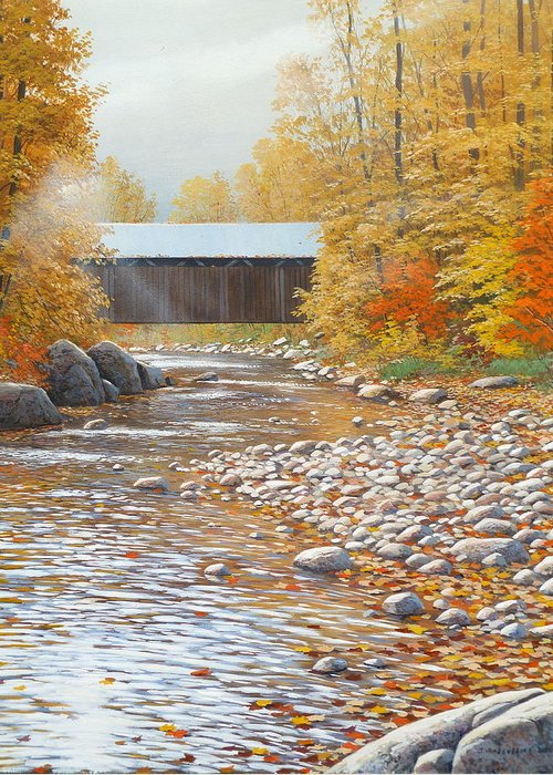 Landscape Greeting Card featuring the painting Autumn In New England by Jake Vandenbrink