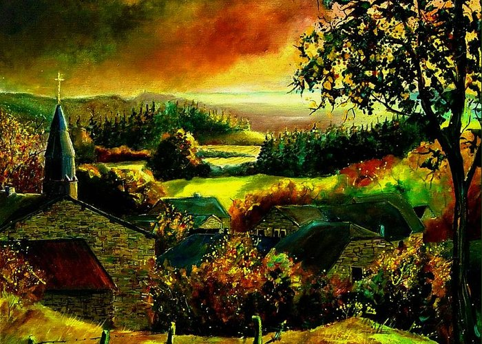 Landscape Greeting Card featuring the painting Autumn In Our Village Ardennes by Pol Ledent