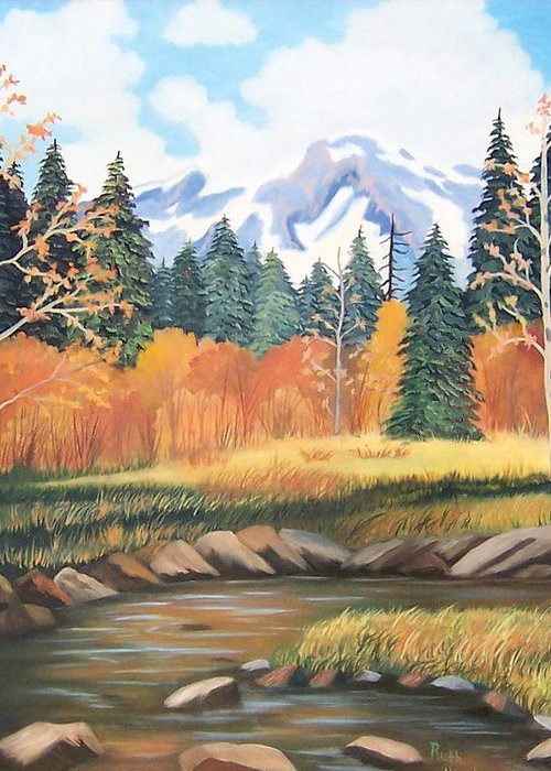 Landscape Greeting Card featuring the painting Autumn In The Mountans by Ruth Housley