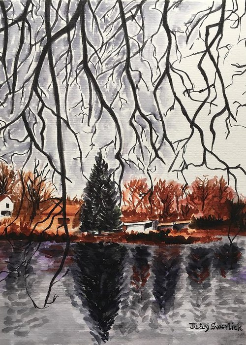 Landscape Greeting Card featuring the painting Autumn in Upstate by Judy Swerlick
