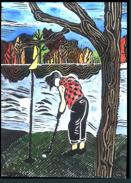 Golf Greeting Card featuring the painting Autumn by Jane Croteau