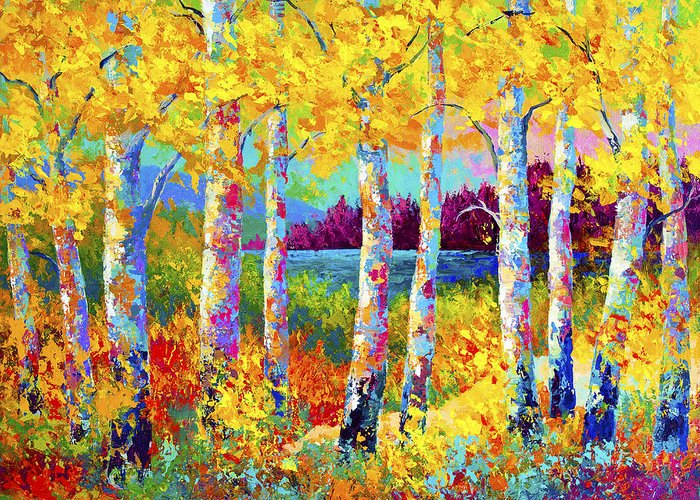 Trees Greeting Card featuring the painting Autumn Jewels by Marion Rose