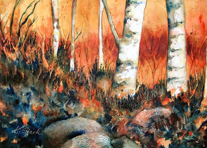 Landscape Greeting Card featuring the painting Autumn by Karen Stark