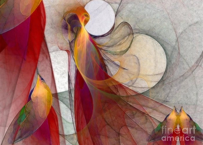 Abstract Greeting Card featuring the digital art Autumn by Karin Kuhlmann