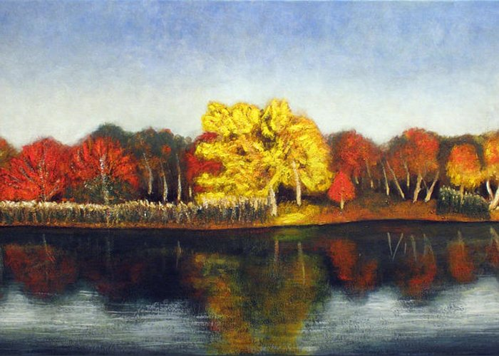 Landscape Greeting Card featuring the painting Autumn Lake by Vladimir Kezerashvili