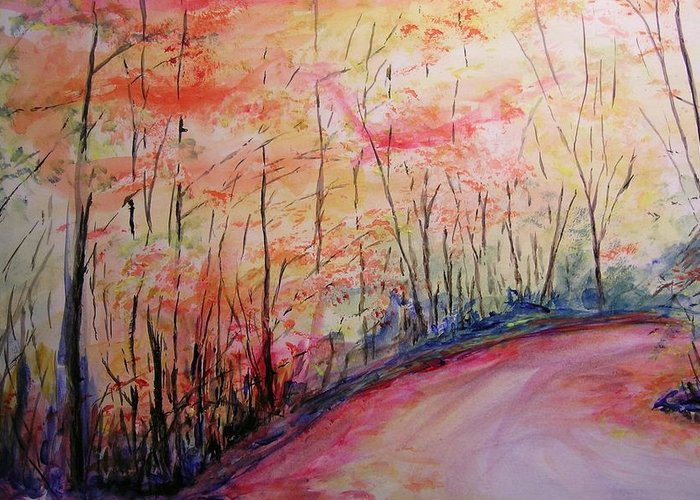 Landsape Greeting Card featuring the painting Autumn Lane II by Lizzy Forrester