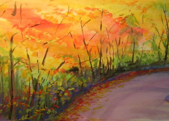 Original Landscape Impressionist Painting Greeting Card featuring the painting Autumn Lane IIi by Lizzy Forrester
