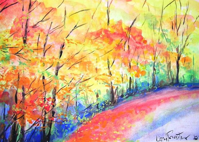 Autumn Greeting Card featuring the painting Autumn Lane Iv by Lizzy Forrester