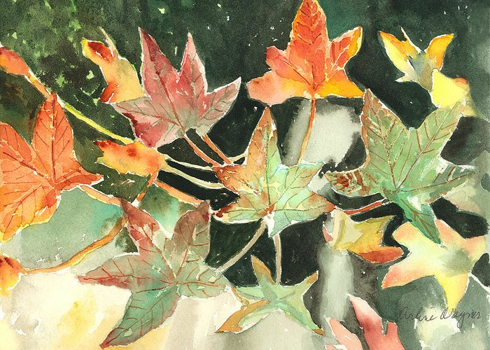 Leaf Greeting Card featuring the painting Autumn Leaves by Arline Wagner