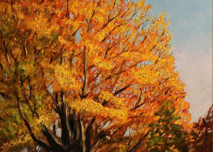 Autumn Greeting Card featuring the painting Autumn Leaves At High Cliff by Daniel W Green